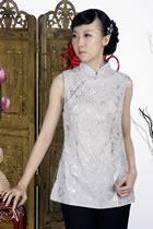 印花中式無袖上衣(銀灰)
