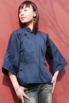 Ethnic 3/4-Sleeve Standing Collar Blouse (CM)
