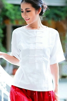 Ethnic Mid-sleeve Cotton Linen Front/Back Turnable Blouse (CM)