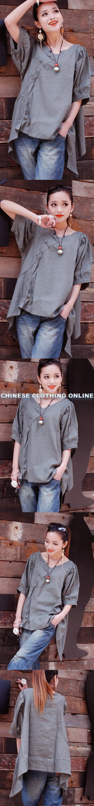 Ethnic Mid-Sleeve A-Line Loose Blouse (CM)