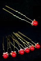 Little Red Pearl Golden Headgears (6 pcs)
