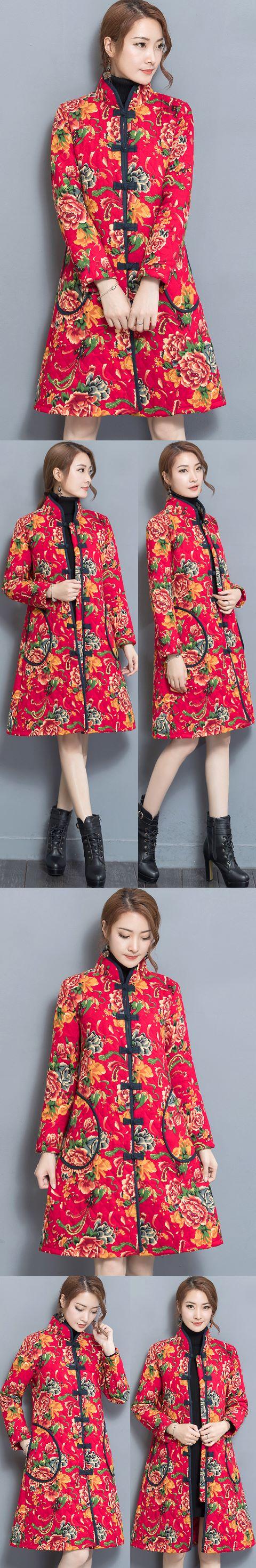 Trendy Ethnic Cotton Linen Wadded Coat (RM)