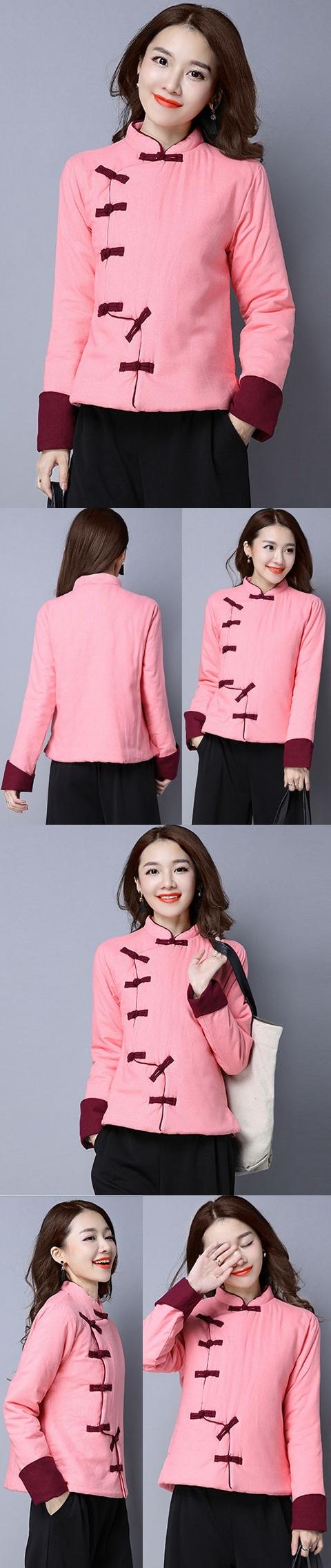 Trendy Ethnic Cotton Linen Wadded Jacket (RM)