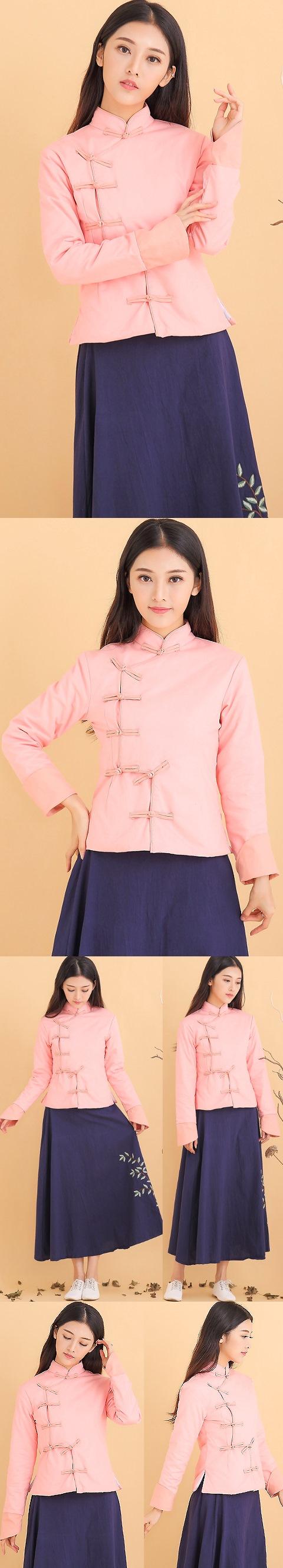 民族風亞麻夾棉夾克 (成衣)