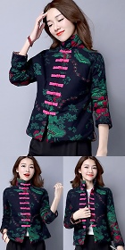 Trendy Ethnic Cotton Linen Wadded Jacket (RM)