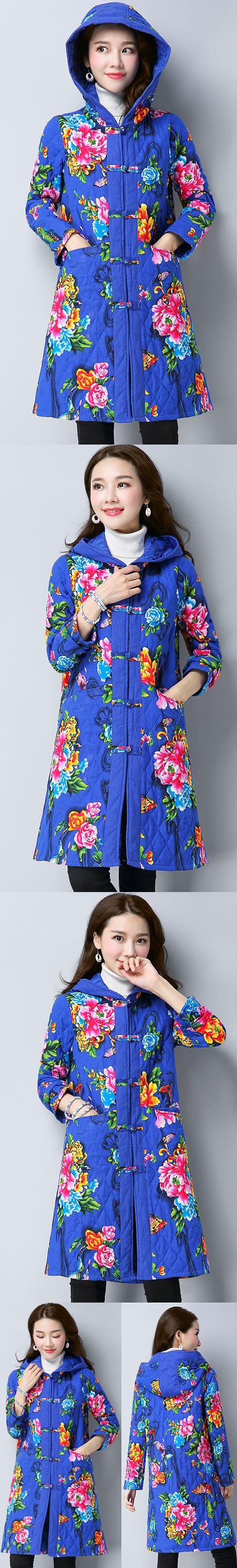 Trendy Ethnic Wadded Coat w/ Hood (RM)