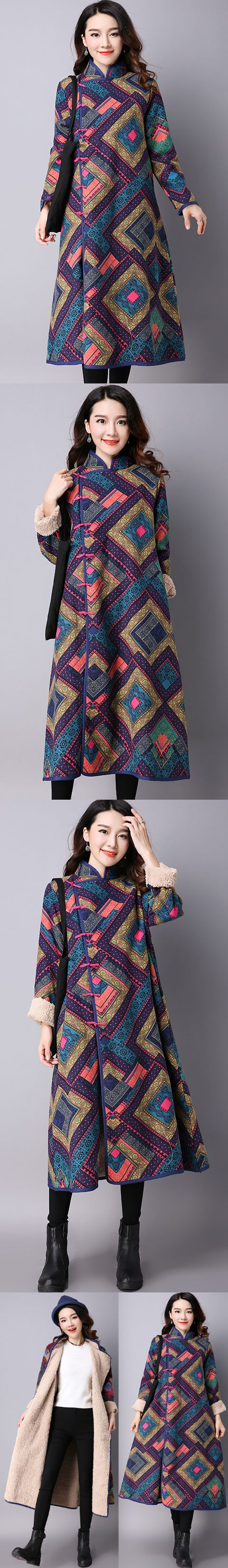 Trendy Mongolian Ethnic Faux Wool Coat (RM)
