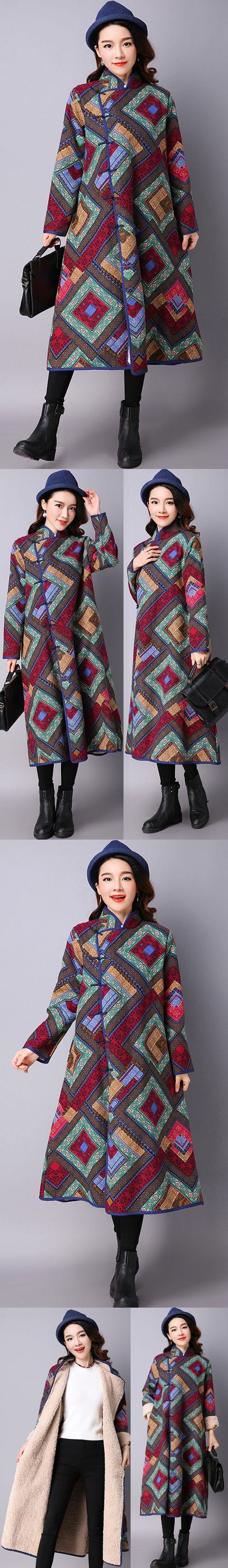 蒙古民族風情厚絨外套 (成衣)