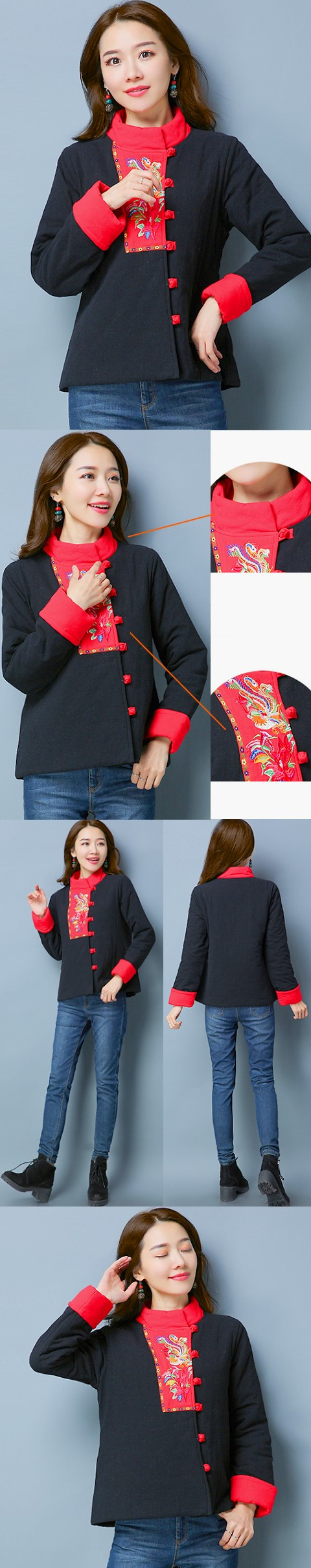 Trendy Ethnic Embroidery Wadded Jacket (RM)