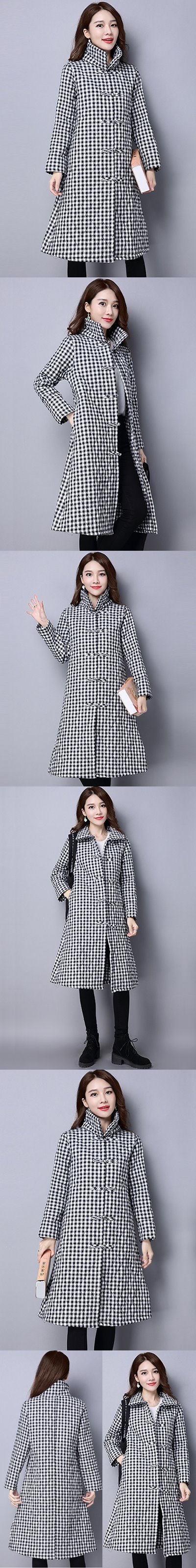 Trendy Ethnic Cotton Linen Wadded Coat (RM)