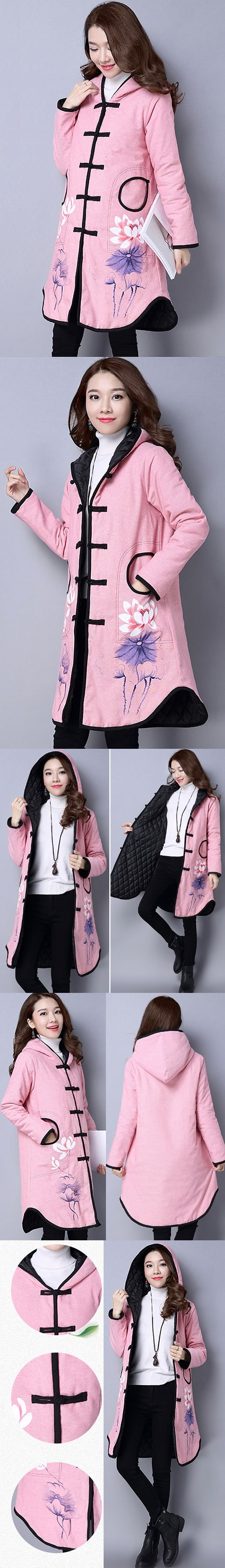 Trendy Ethnic Hand-painting Wadded Coat w/ Hood (RM)