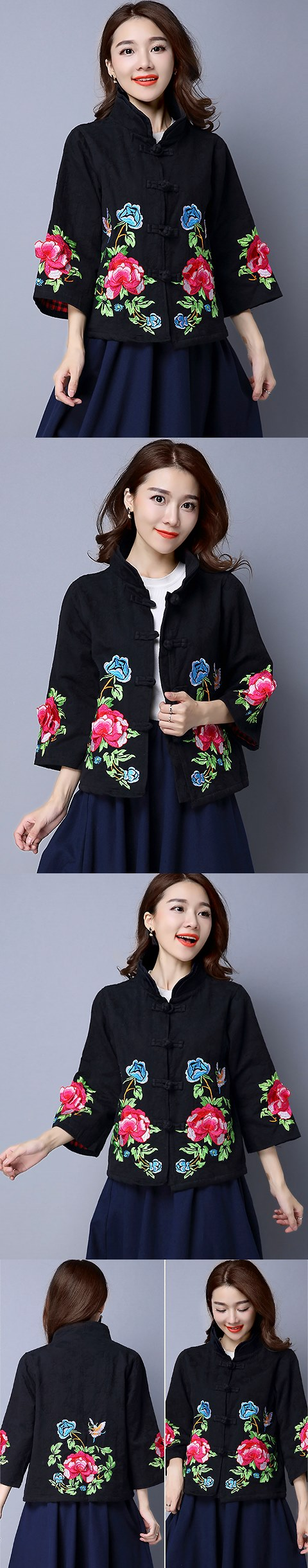 Trendy Ethnic Cotton Linen Embroidery Jacket (RM)