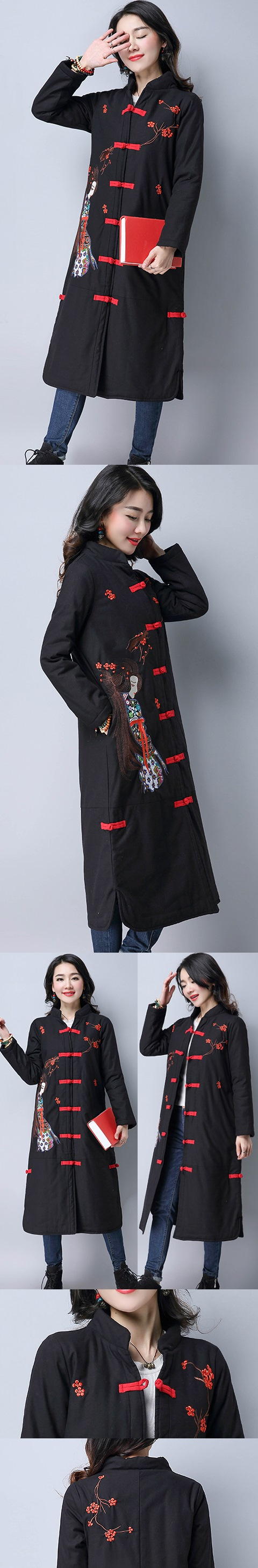 Trendy Ethnic Embroidery Wadded Coat (RM)