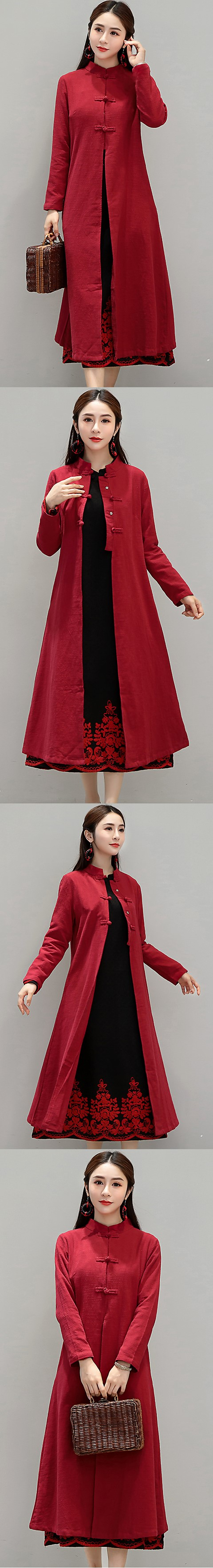 Trendy Ethnic Cotton Linen Autumn Overcoat (RM)
