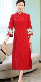 Elegant Cotton Linen Jacquard Cheongsam (RM)