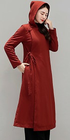 Trendy Ethnic Cotton Linen Hooded Overcoat (RM)