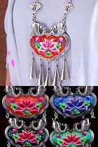 手工民族風花卉刺繡項鏈