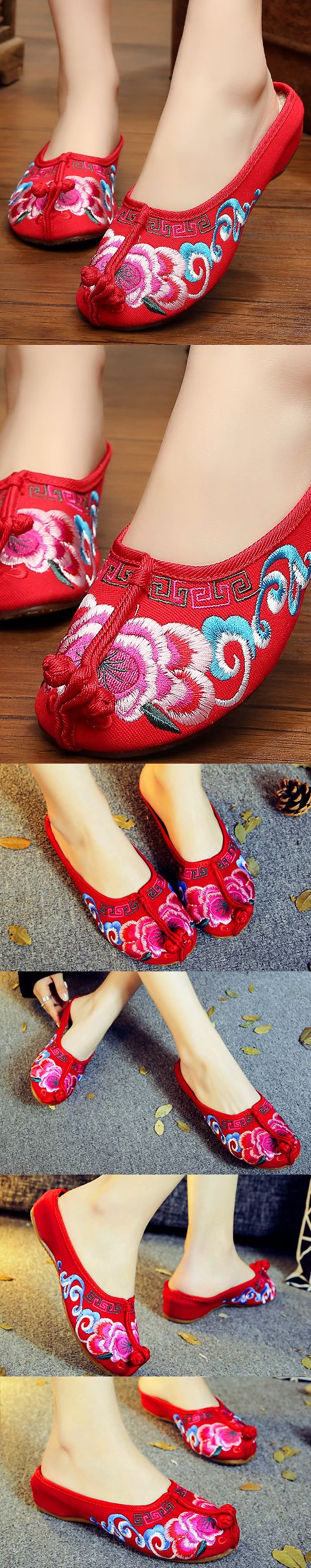 Tipping-head Embroidery Slippers