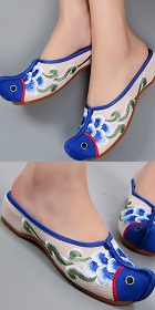 Tipping Fish-head Embroidery Slippers