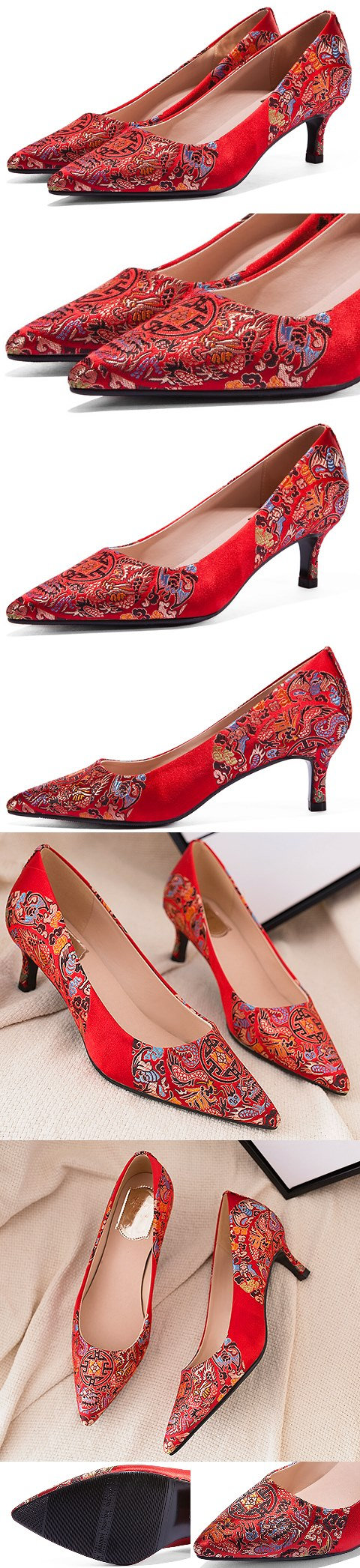 Mid Heel Huddling Dragon Brocade Shoes