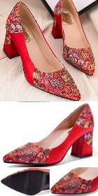 High Heel Huddling Dragon Brocade Shoes