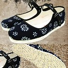 Floral Batik Cloth Shoes w/ Strap (Dark Navy)