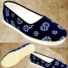 Floral Batik Cloth Shoes (Dark Navy)