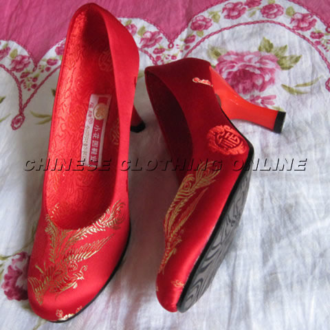 High Heel Phoenix Embroidery Shoes (Red)