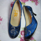 High Heel Mudan Peony Embroidery Shoes (Blue)
