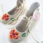 Wedge Heel Mudan Peony Embroidery Boots (Beige)
