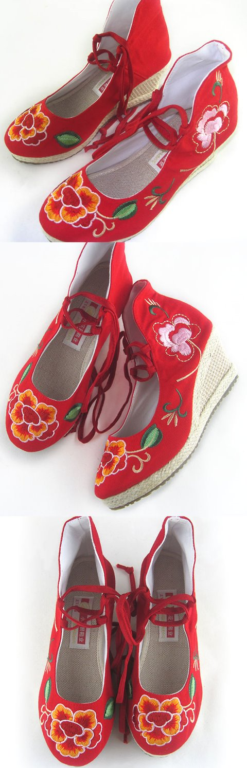 Wedge Heel Mudan Peony Embroidery Boots (Red)