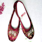 Mid Heel Pomegranate Flower Embroidery Shoes (Multicolor)