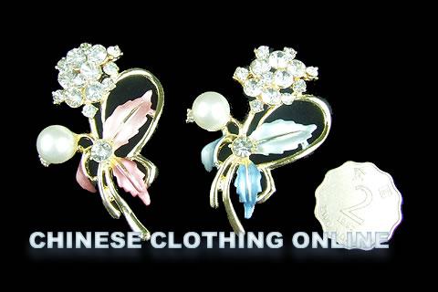 Rhinestone and Pearl Floral Brooch