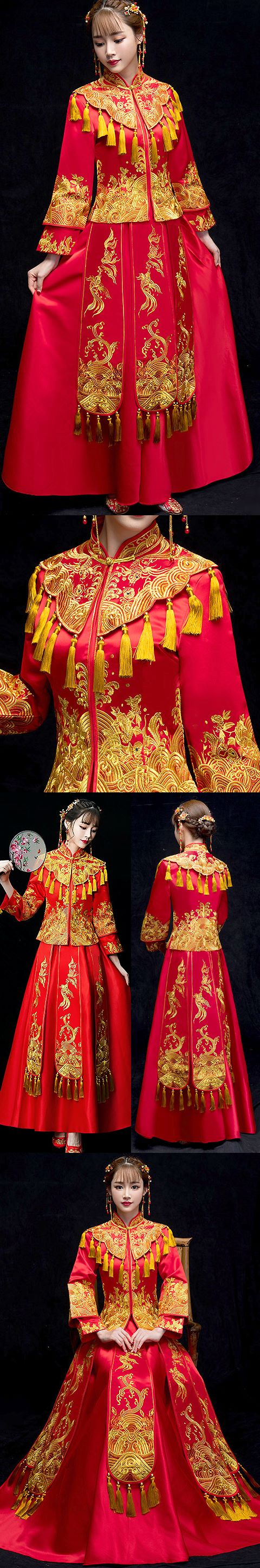 Gold/Red Prom/Bridal Skirt Suit