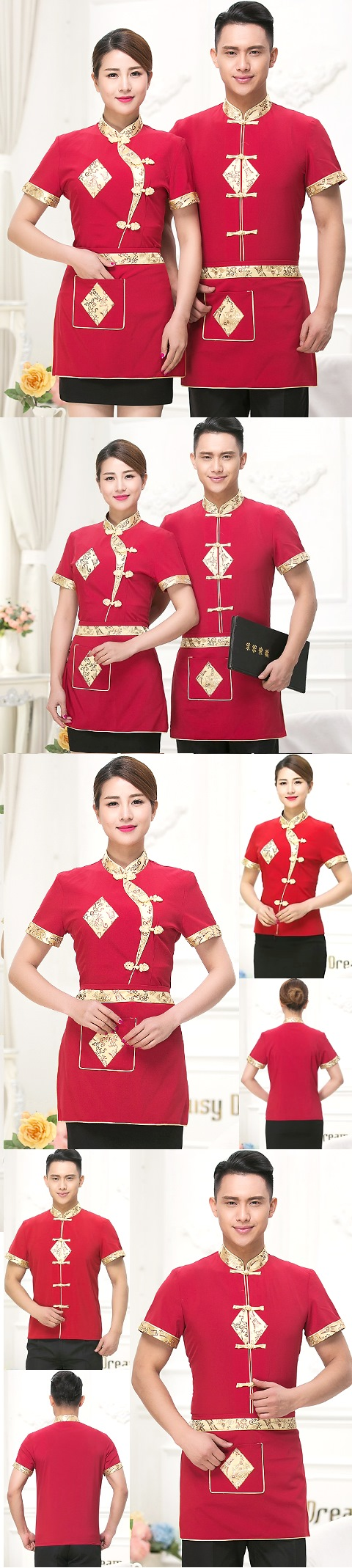 Mandarin Style Restaurant Uniform-Top (Crimson)