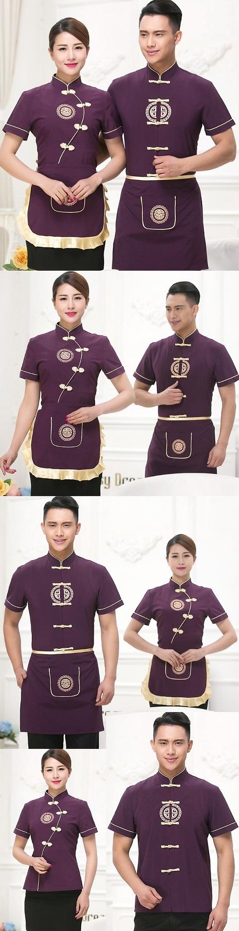 中式餐館制服-上衣(紫色)