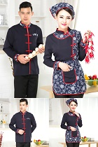 Mandarin Style Restaurant Uniform-Top (Navy)