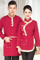 Mandarin Style Restaurant Uniform-Top (Crimson)