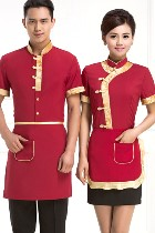 Bargain - Mandarin Style Restaurant Uniform-Top (Crimson)