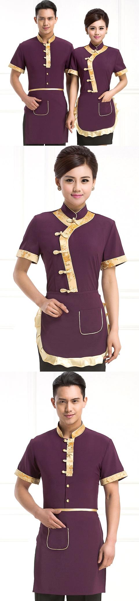 Mandarin Style Restaurant Uniform-Top (Purple)