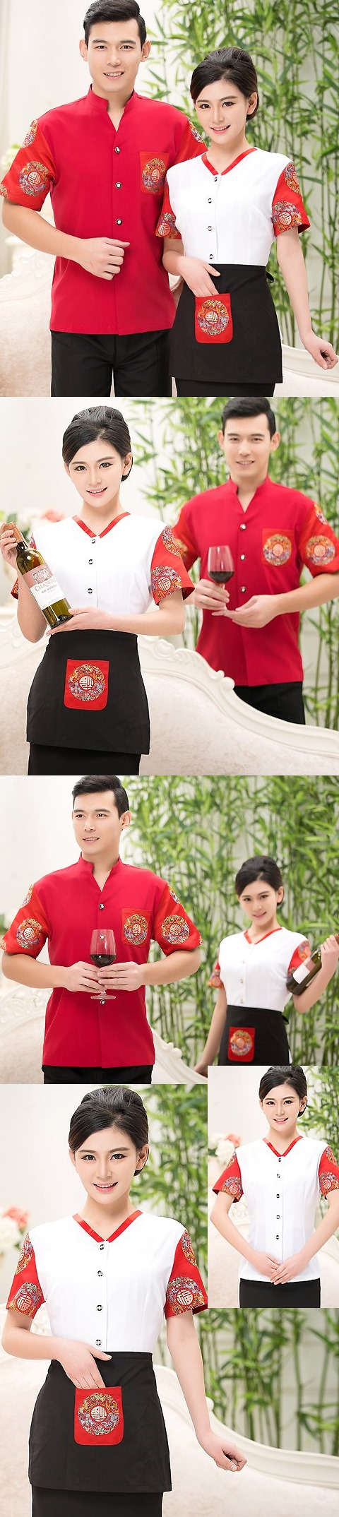 Mandarin Style Restaurant Uniform-Top (White)