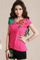 Ethnic Floral Embroidery Dual-color Cup-sleeve Blouse (RM)