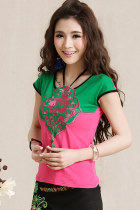 Ethnic Floral Embroidery Cup-sleeve Strap Blouse (RM)
