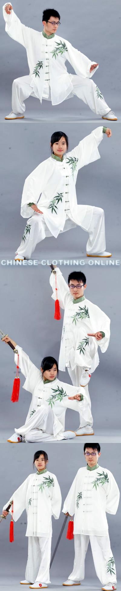 三件頭竹子刺繡太極表演套裝〈定做〉