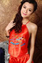 Mandarin Duck Embroidery Halter Top (RM)