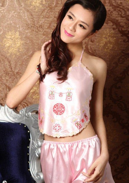 Silky Embroidery Emboss Halter Top (RM)