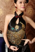 Embroidery Mandarin Collar Halter Top