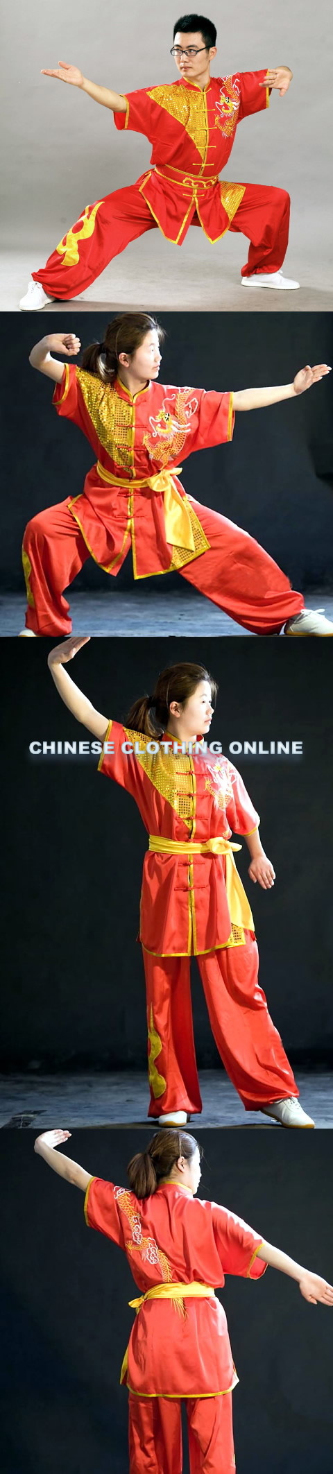 Dragon Embroidery and Paillette 2-piece Kung Fu / Taichi Suit (CM)