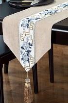 中國風情刺繡棉麻桌旗 (成品)