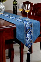 Chinese Ethnic Embroidery Linen Cotton Table Runner (RM)
